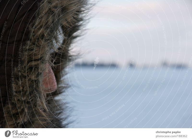 Hello Daisy Mensch Winter Einsamkeit Gesicht Ferne kalt Schnee Kopf Eis Nase Frost Fell Unwetter Mütze frieren Detailaufnahme