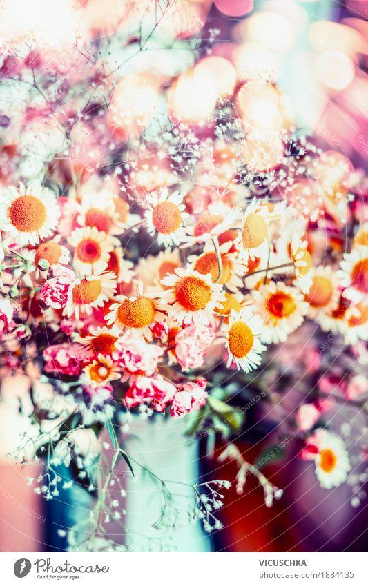 Schöne Sommerblumen Stil Design Dekoration & Verzierung Natur Pflanze Frühling Blume Blatt Blüte Wildpflanze Garten Blumenstrauß Blühend Liebe rosa mehrfarbig