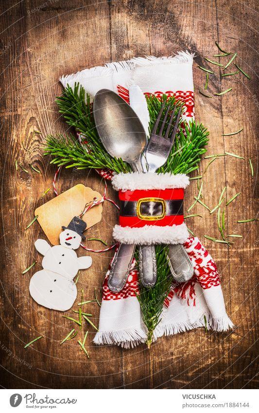 Schöne rustikale Tischdekoration zu Weihnachten Ernährung Festessen Besteck Messer Gabel Löffel Stil Design Freude Häusliches Leben Wohnung Innenarchitektur