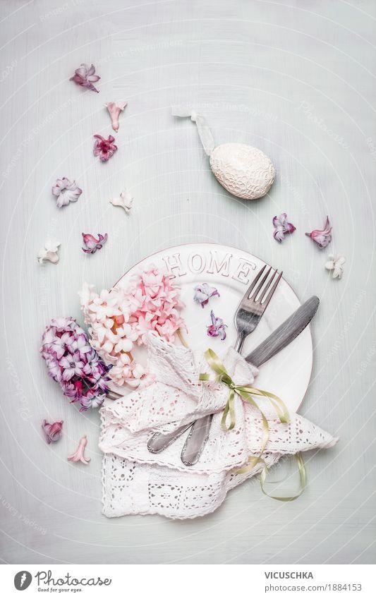 Ostern Tischdeko in Pastellfarben Festessen Geschirr Teller Besteck Stil Design Häusliches Leben Innenarchitektur Dekoration & Verzierung Veranstaltung