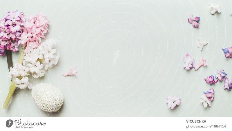 Ostern Deko mit Hyazinthen und Blütenblattern Natur Pflanze Blume Blatt gelb Liebe Frühling Hintergrundbild Stil Feste & Feiern Design rosa