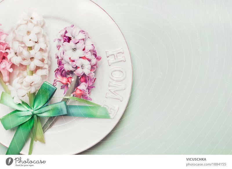 Festlicher Tischgedeck mit Frühlingsblumen Blume Freude gelb Liebe Stil Feste & Feiern Party Stimmung Design rosa Wohnung Häusliches Leben Dekoration & Verzierung Tisch Ostern Veranstaltung