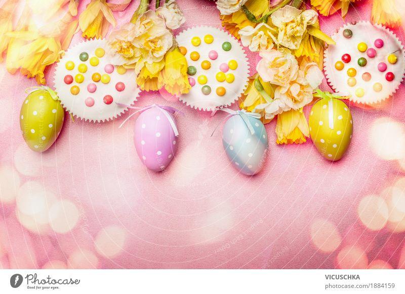 Ostern in Pastellfarbe mit Eier, Blumen und Kuchen Freude gelb Frühling Stil Feste & Feiern Design rosa Dekoration & Verzierung Postkarte Blumenstrauß Tradition
