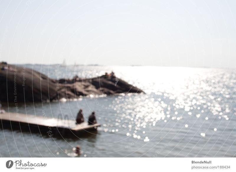 blurred romance Mensch Wasser schön Sonne Ferien & Urlaub & Reisen Meer Freude Erholung Landschaft Gefühle Glück Wärme Küste träumen Zufriedenheit Felsen
