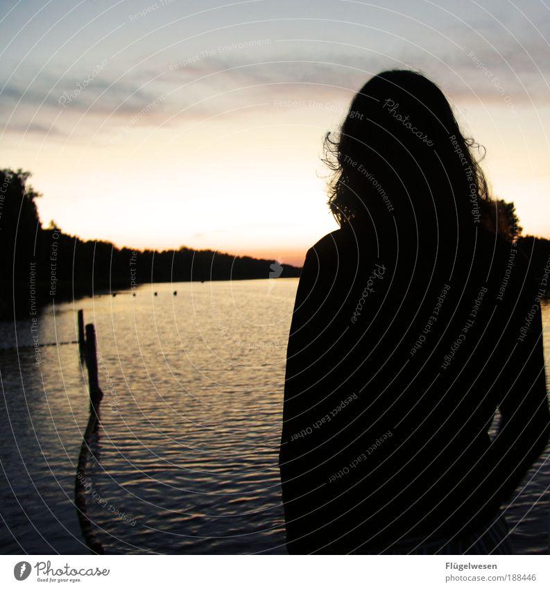 Schöpfungsstaunerin Wasser Sommer Strand Ferien & Urlaub & Reisen Einsamkeit Gefühle Glück Zufriedenheit Stimmung Wellen warten Aussicht See genießen Seeufer