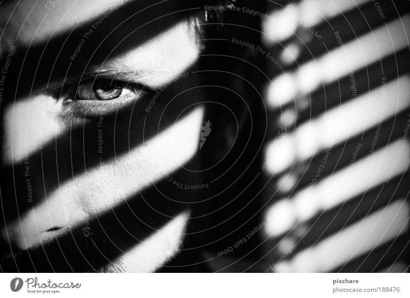 ////// Mann Jugendliche Gesicht Auge dunkel Linie Erwachsene maskulin ästhetisch Coolness Schatten beobachten verstecken graphisch Jalousie Zebrastreifen