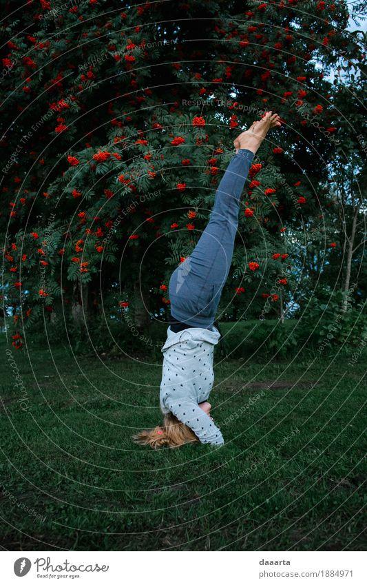 auf dem Kopf Natur Baum Freude Leben Lifestyle Sport feminin Stil Spielen Glück Garten Freiheit Feste & Feiern Party Stimmung wild