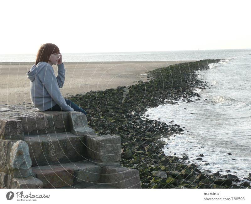 Fernweh Kind Wasser Meer Ferien & Urlaub & Reisen Junge Gefühle Wellen Küste maskulin Horizont Kindheit Schönes Wetter Nordsee 8-13 Jahre