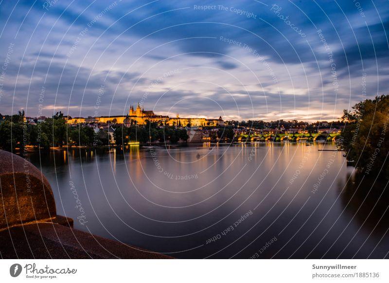 blue hour in prague Freizeit & Hobby Ferien & Urlaub & Reisen Tourismus Ausflug Sightseeing Städtereise Sommer Fluss Prag Europa Stadt Hauptstadt Stadtzentrum