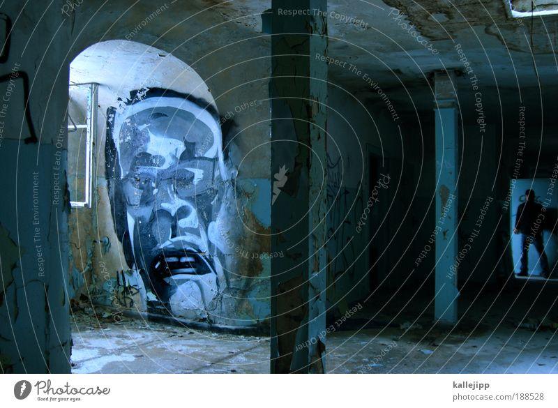 usertreffen Mensch Mann Erwachsene Kopf Gesicht 2 Mauer Wand Fenster Tür stehen Graffiti gruselig Flur Gang Säule Raum Bogen Farbfoto Gedeckte Farben