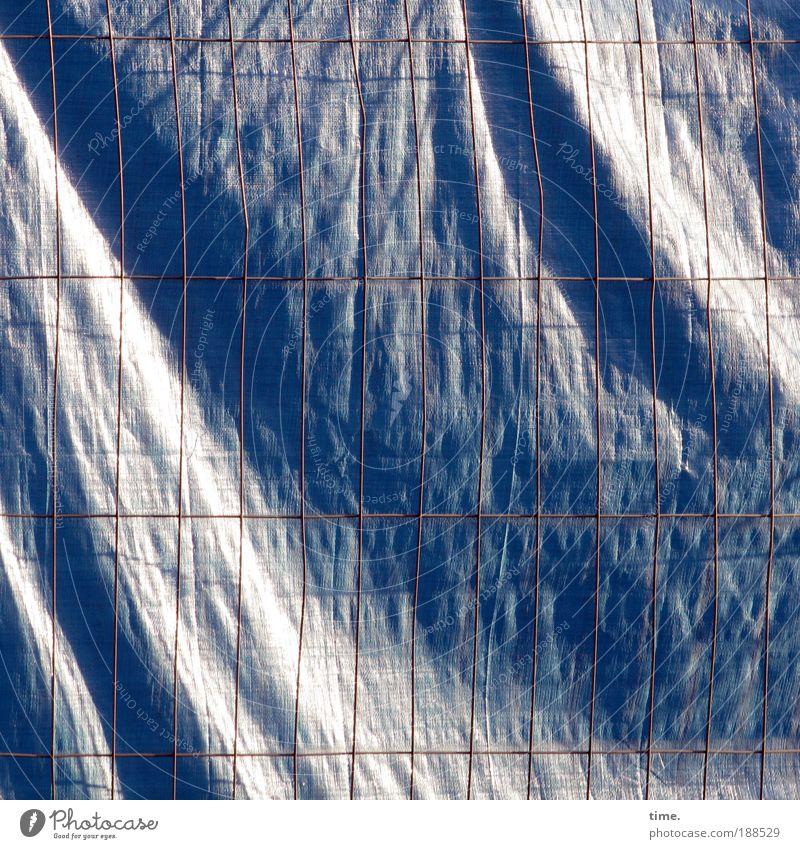 The Big Secret Arbeit & Erwerbstätigkeit Wind groß Ecke Baustelle geheimnisvoll Quadrat Falte Kunststoff Rost Eisen wehen Gitter Faser Abdeckung