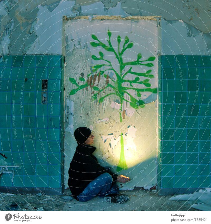 kalle mit den schwefelhölzern Mensch Mann grün Baum Pflanze Einsamkeit Blatt Erwachsene Wärme Lampe träumen Klima maskulin Armut Wachstum frisch