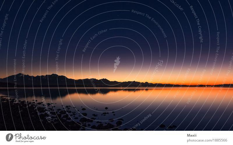 Chiemsee Nacht Umwelt Natur Landschaft Wasser Himmel Wolkenloser Himmel Nachthimmel Sonnenaufgang Sonnenuntergang Schönes Wetter Berge u. Gebirge Gipfel Seeufer
