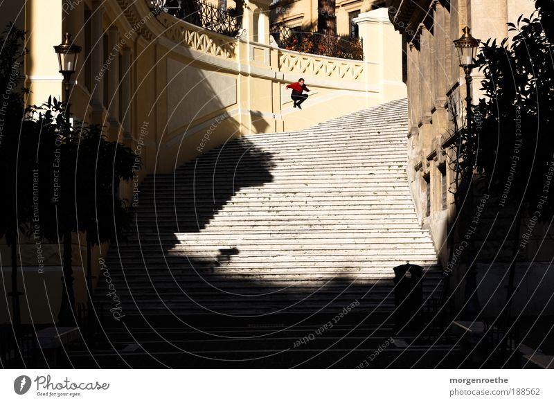 Ein Tag in Rom Mensch alt rot Pflanze Sonne Ferien & Urlaub & Reisen Freude schwarz gelb Leben Freiheit springen Freizeit & Hobby Treppe maskulin Laterne