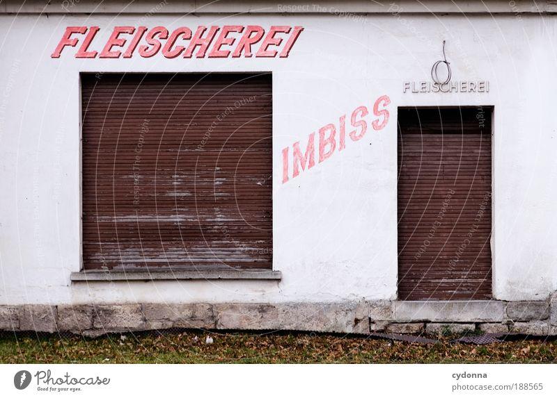 I5OO Geschlossene Veranstaltung Lebensmittel Fleisch Wurstwaren Ernährung Haus Architektur Mauer Wand Fenster Tür Schriftzeichen ästhetisch Einsamkeit