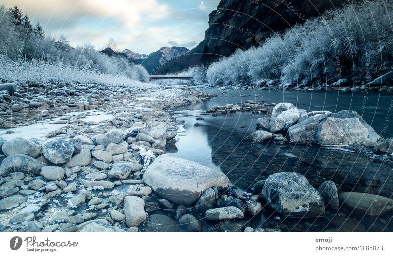 frosty II Natur blau Landschaft Winter Umwelt kalt Eis Fluss Frost Flußbett