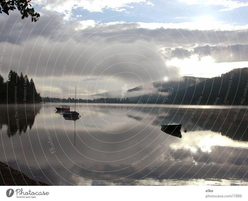 spiegelungen Wolken Berge u. Gebirge See Wasserfahrzeug Nebel Morgennebel
