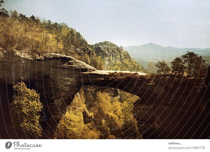knapp verpasst... Natur Landschaft Wald Berge u. Gebirge Tourismus Felsen wandern Aussicht Sehenswürdigkeit Wahrzeichen herbstlich Nationalpark