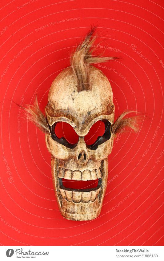 Mensch Ferien & Urlaub & Reisen rot Gesicht Holz Kunst Tod Ausflug Kultur geheimnisvoll Asien exotisch gruselig Basteln Halloween Thailand