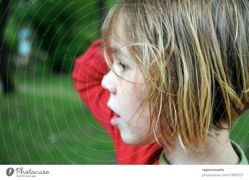 ein wimpernschlag nachdenklichkeit Mensch Kind Mädchen grün rot Gesicht Haare & Frisuren träumen Kopf Mund Arme Nase 1 authentisch beobachten