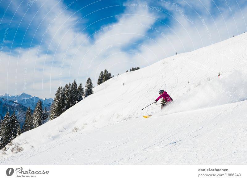 Abfahrt Mensch Ferien & Urlaub & Reisen Natur Jugendliche Junge Frau Erholung Freude Winter Berge u. Gebirge 18-30 Jahre Erwachsene feminin Schnee Sport Gefühle