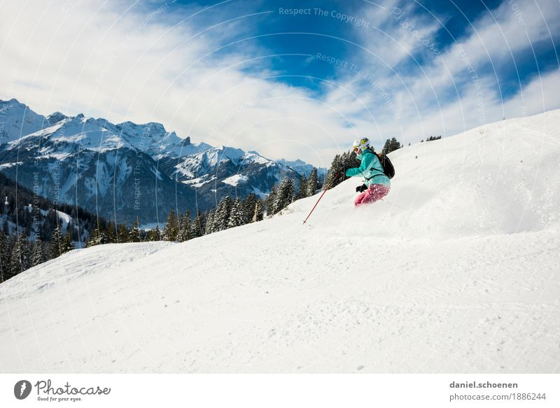Vorfreude 3 Mensch Ferien & Urlaub & Reisen Jugendliche Junge Frau Erholung Freude Winter 18-30 Jahre Berge u. Gebirge Erwachsene Bewegung Sport Schnee Glück