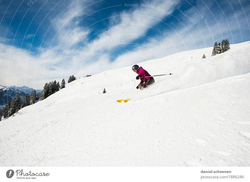 Winterspaß Mensch Ferien & Urlaub & Reisen Jugendliche Freude Berge u. Gebirge 18-30 Jahre Erwachsene feminin Schnee Sport Gefühle Bewegung Glück Tourismus
