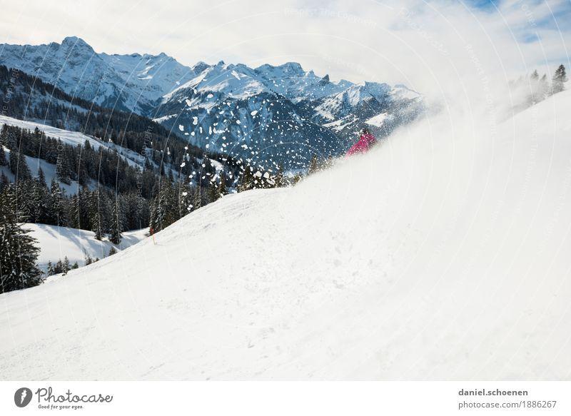 Abfahrt, dunkelrot Freizeit & Hobby Skifahren Ferien & Urlaub & Reisen Winter Schnee Winterurlaub Berge u. Gebirge Sport Wintersport Skipiste Mensch 1