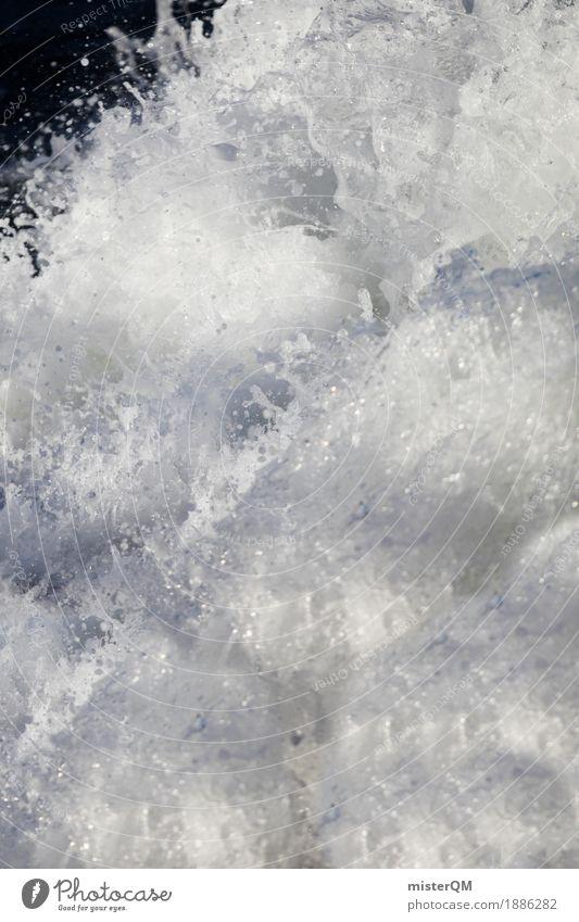 Wusch. Wasser weiß Kunst ästhetisch Wassertropfen Wasseroberfläche Wasserfall toben Wasserwirbel Rauschen