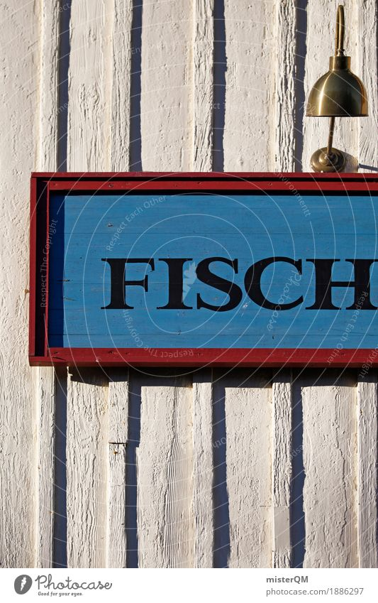 Fisch. Kunst ästhetisch Fischereiwirtschaft Fischerdorf Ostsee Typographie Schriftzeichen Farbfoto mehrfarbig Außenaufnahme Experiment abstrakt Muster