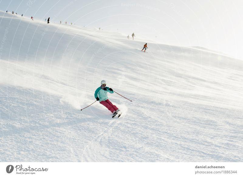 carven Mensch Ferien & Urlaub & Reisen weiß Sonne Freude Winter Gefühle Bewegung Sport Schnee Glück Tourismus hell Freizeit & Hobby Lebensfreude Fitness