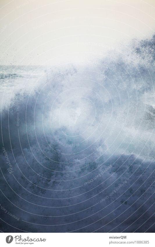 Kraft. Kunst Kunstwerk ästhetisch Wasser Wasserkraftwerk Wassertropfen Wasserwirbel Gischt Meerwasser Wellen Wellengang Wellenform Wellenschlag Wellenbruch