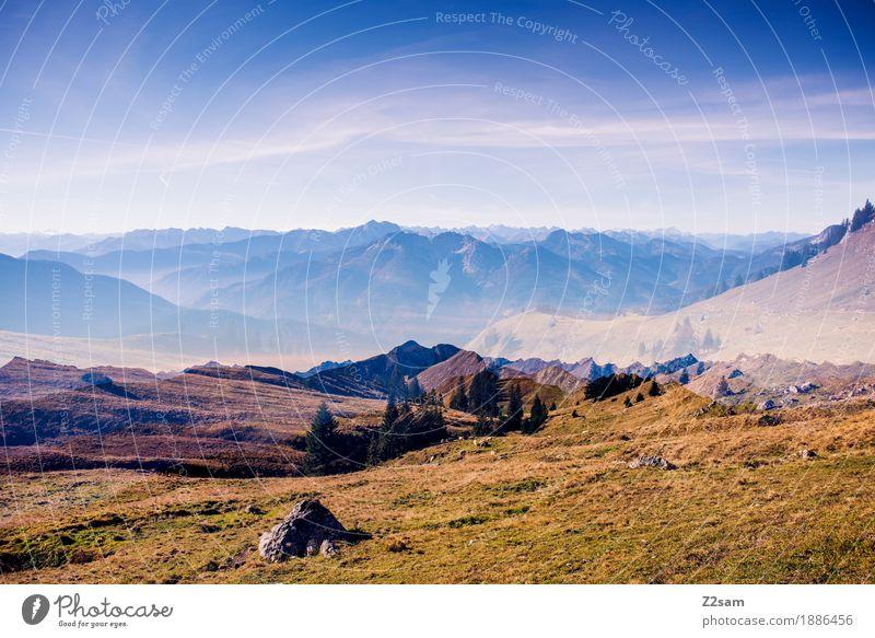 2 mal bayern Himmel Natur Farbe grün Landschaft Erholung Einsamkeit ruhig Berge u. Gebirge Umwelt Herbst Wiese natürlich Sport wandern Idylle