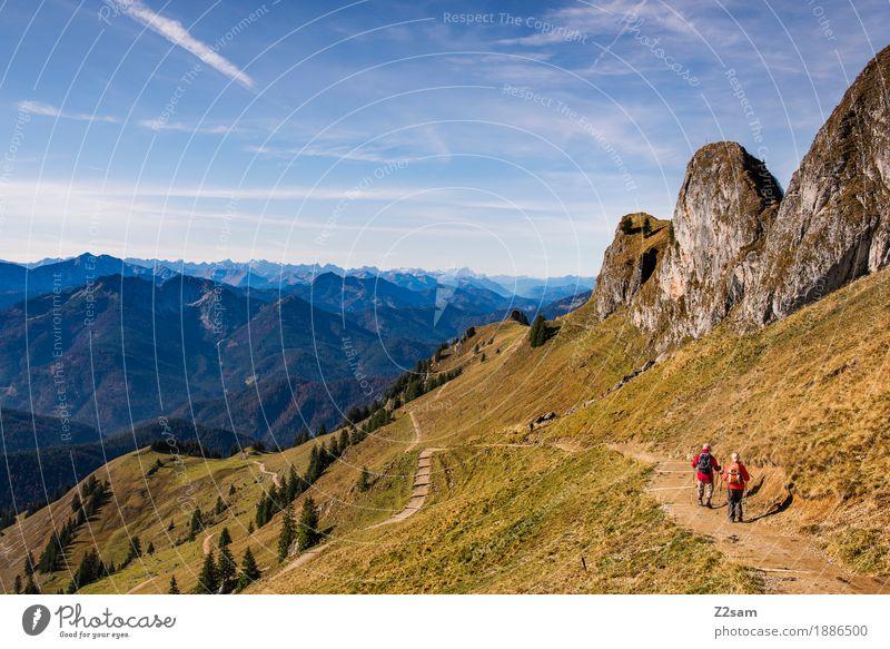 Rotwand Lifestyle Abenteuer Berge u. Gebirge wandern Sport 2 Mensch Natur Landschaft Herbst Schönes Wetter Wiese Alpen Gipfel Erholung gehen natürlich grün