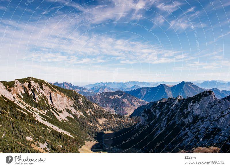 Oh du schönes Bayernland Himmel Natur blau Farbe grün Landschaft ruhig Ferne Berge u. Gebirge Umwelt Herbst natürlich Sport Horizont wandern Idylle