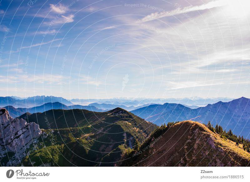 Bayern Richtung Österreich Abenteuer Berge u. Gebirge wandern Natur Landschaft Himmel Herbst Schönes Wetter Alpen Gipfel ästhetisch Ferne gigantisch natürlich
