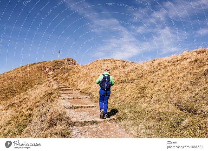 Aufwärts Abenteuer Berge u. Gebirge wandern Sport Junge Frau Jugendliche 30-45 Jahre Erwachsene Umwelt Natur Landschaft Herbst Schönes Wetter Wiese Alpen Gipfel
