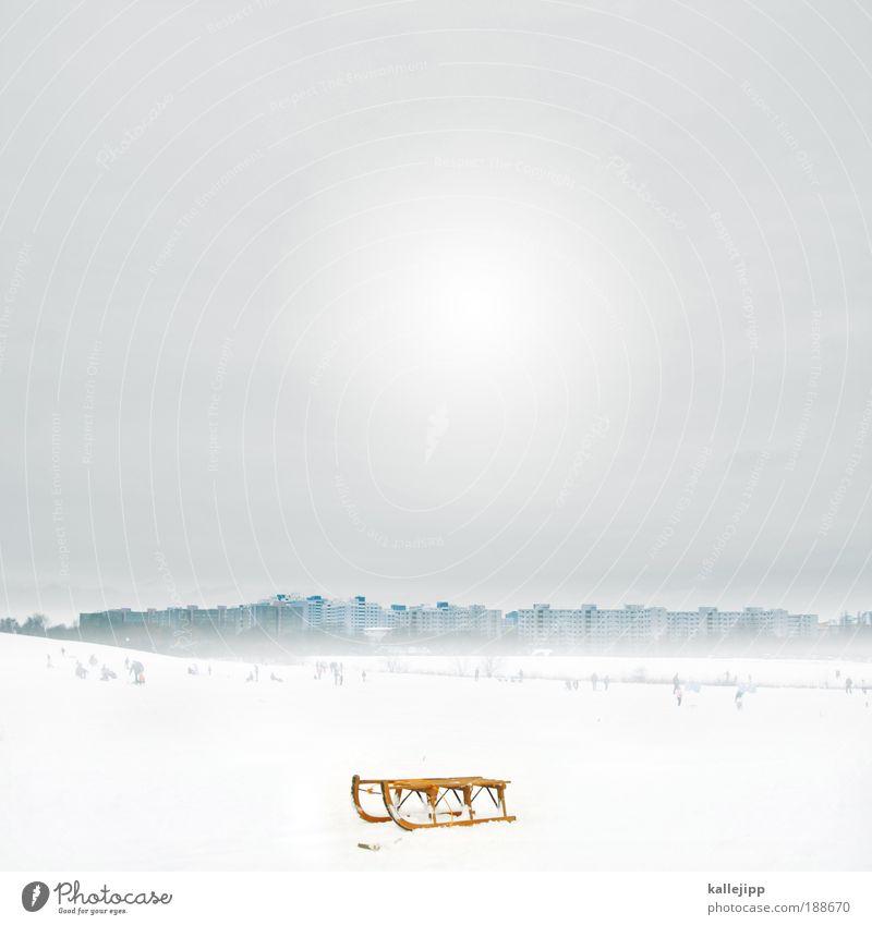 gleitzeit Lifestyle Mensch Umwelt Landschaft Winter Wind Sturm Nebel Eis Frost Schnee Park Wiese Feld Hügel Stadt Skyline Haus Hochhaus kalt Schlitten Rodeln