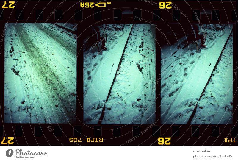 3mal1Bild V1 Stil Rodeln Kindheit Kunst Umwelt Natur Urelemente Winter Klima Schnee Wege & Pfade Anzug Jacke Mantel fahren authentisch dreckig exotisch kalt