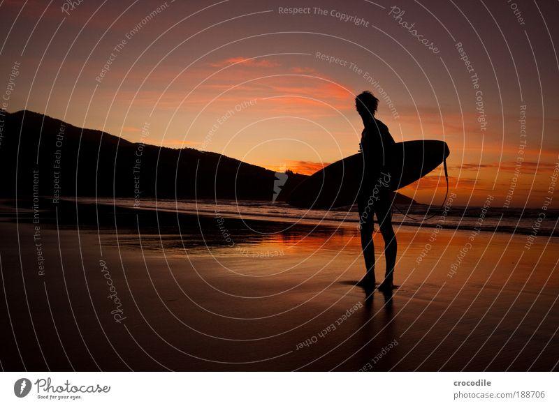 Endless Summer Mensch Natur Jugendliche Freude Strand Meer Wolken Ferne Sport Landschaft Umwelt Küste Erwachsene Sonnenuntergang Wellen Kraft