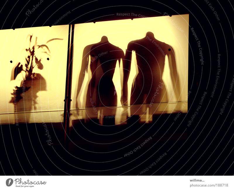 szenen einer ehe Häusliches Leben Fenster Schaufensterpuppe Voyeurismus anonym kopflos Pflanze Zimmerpflanze Grünpflanze Licht nebeneinander Kaufhaus Farbfoto