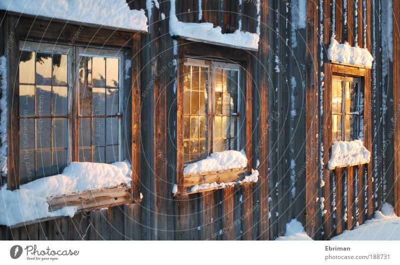 Goldener Abend weiß Winter ruhig Haus kalt Schnee Wand Fenster Holz Mauer Eis braun Architektur glänzend Wohnung