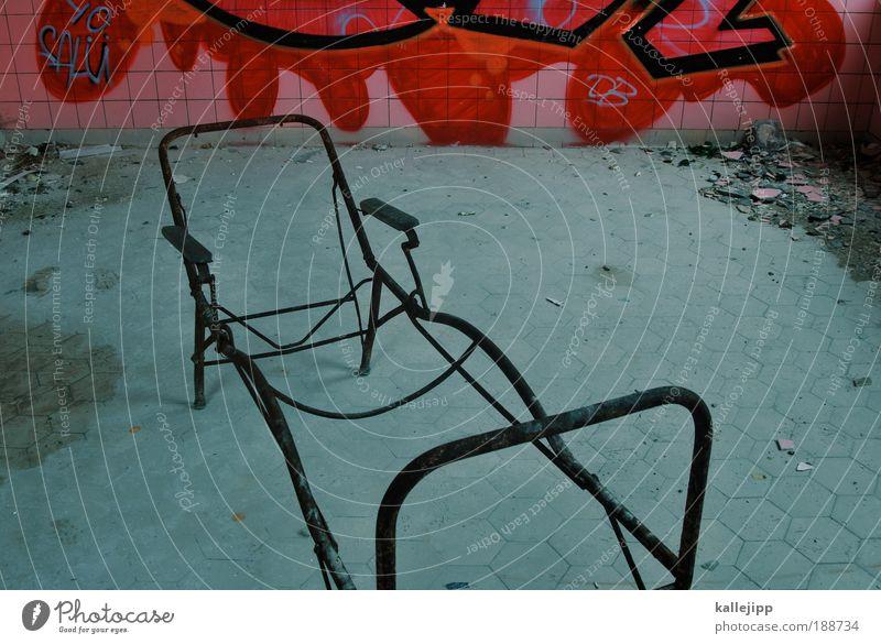 beds are burning Häusliches Leben Wohnung Renovieren einrichten Innenarchitektur Sofa Bett Schlafzimmer Arzt Graffiti liegen rot Angst Krankenbett Liege Raum
