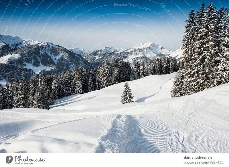 und runter geht's Natur Ferien & Urlaub & Reisen blau weiß Landschaft Winter Berge u. Gebirge Schnee Tourismus Skifahren Alpen Schneebedeckte Gipfel