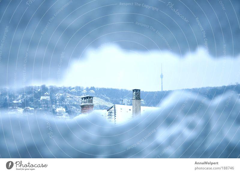 Stuttgart - eingeschneit Himmel blau Stadt Winter Leben kalt Schnee Freiheit grau Eis Horizont hoch Frost Fernseher Bauwerk Sturm