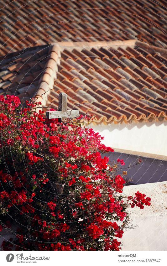 Spanisches Dach. Kunst ästhetisch mediterran Dachziegel Kirche Fuerteventura Farbfoto mehrfarbig Außenaufnahme Detailaufnahme Experiment abstrakt Menschenleer