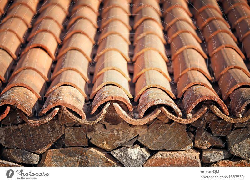 Dachziegel I Kunst ästhetisch Backstein orange viele Dachrinne Dachüberhang Dachgeschoss Stein Reihe mediterran historisch Altbau Farbfoto mehrfarbig