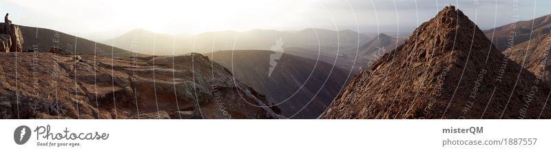 Bergpanorama I Kunst Kunstwerk ästhetisch Panorama (Bildformat) Berge u. Gebirge Fuerteventura hoch Gipfel Ferne Meditation Insel Natur Sonnenuntergang wandern