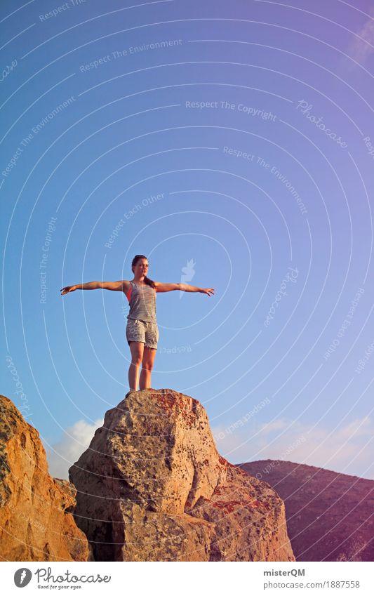 Gipfel I Frau Jugendliche Junge Frau Ferne Berge u. Gebirge Sport Kunst Freiheit Felsen frei Ausflug wandern ästhetisch stehen Arme hoch