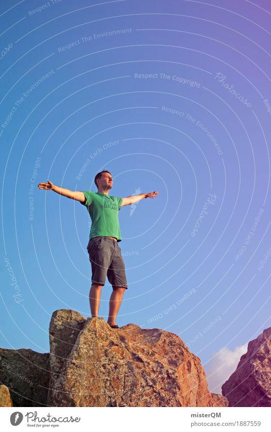 Gipfel III Kunst ästhetisch frei Freiheit Arme offen wandern T-Shirt Mann Außenaufnahme fliegen Körperhaltung leicht Leichtigkeit Fuerteventura Farbfoto